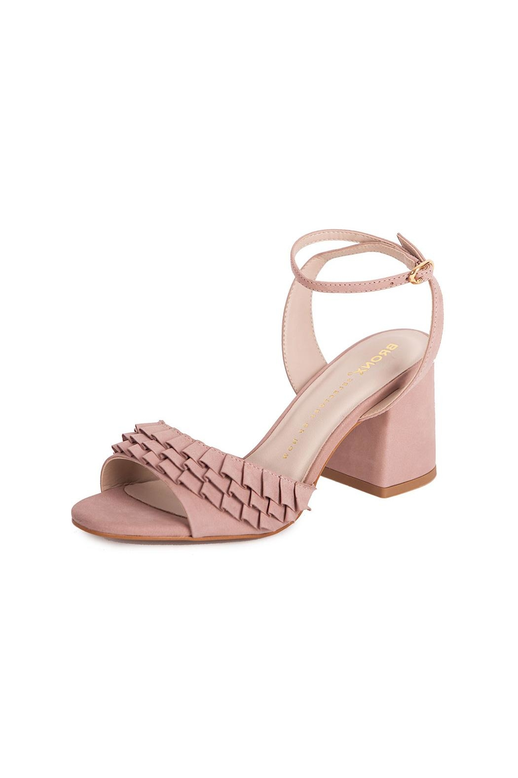Bronx Pink Suede Heeled Sandals - Front Full Image