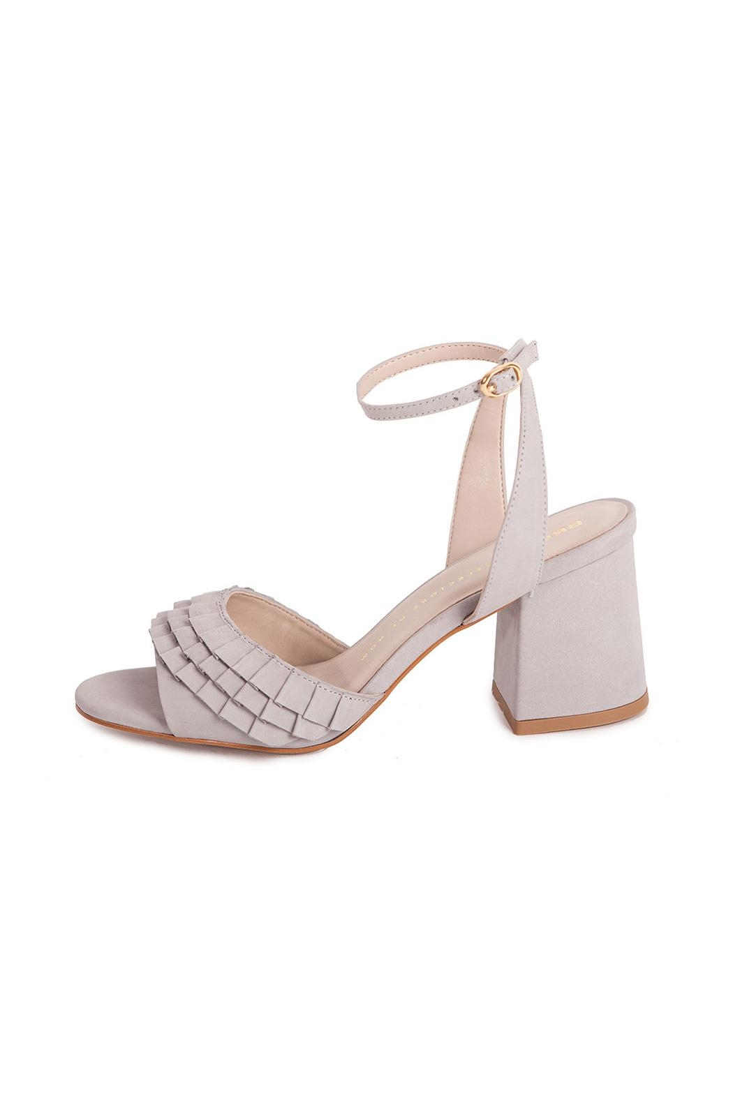 Bronx Grey Suede Heeled Sandals - Front Full Image