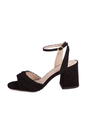 Bronx Black Suede Heeled Sandals - Front full body