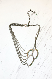 Viki Jewelry Bronze 3 Leaf Chain Necklace w/ Pervian Opal - Product Mini Image