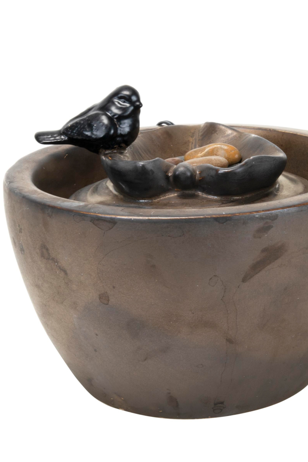 Foreside Home & Garden Bronze Bird On Leaf Water Fountain - Front Full Image