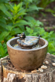 Foreside Home & Garden Bronze Bird On Leaf Water Fountain - Product Mini Image