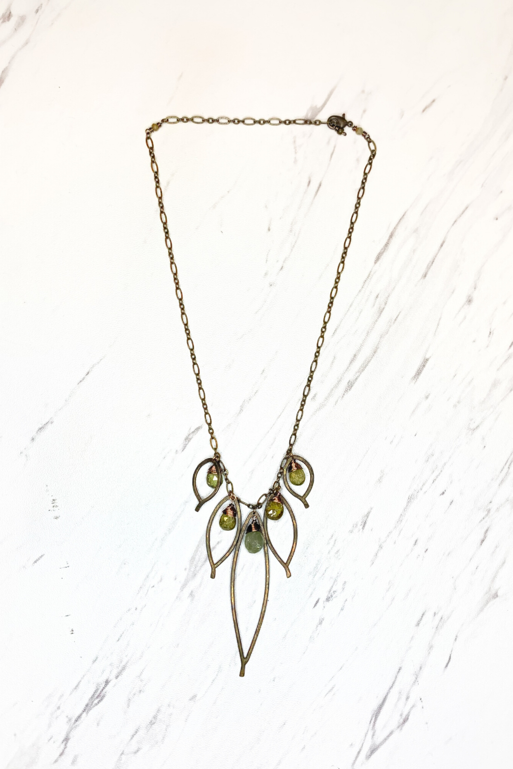 Viki Jewelry Bronze Cluster Necklace w/Grosler Stone - Front Cropped Image