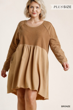 Umgee Plus Bronze Mineral Washed Fall Dress - Product List Image