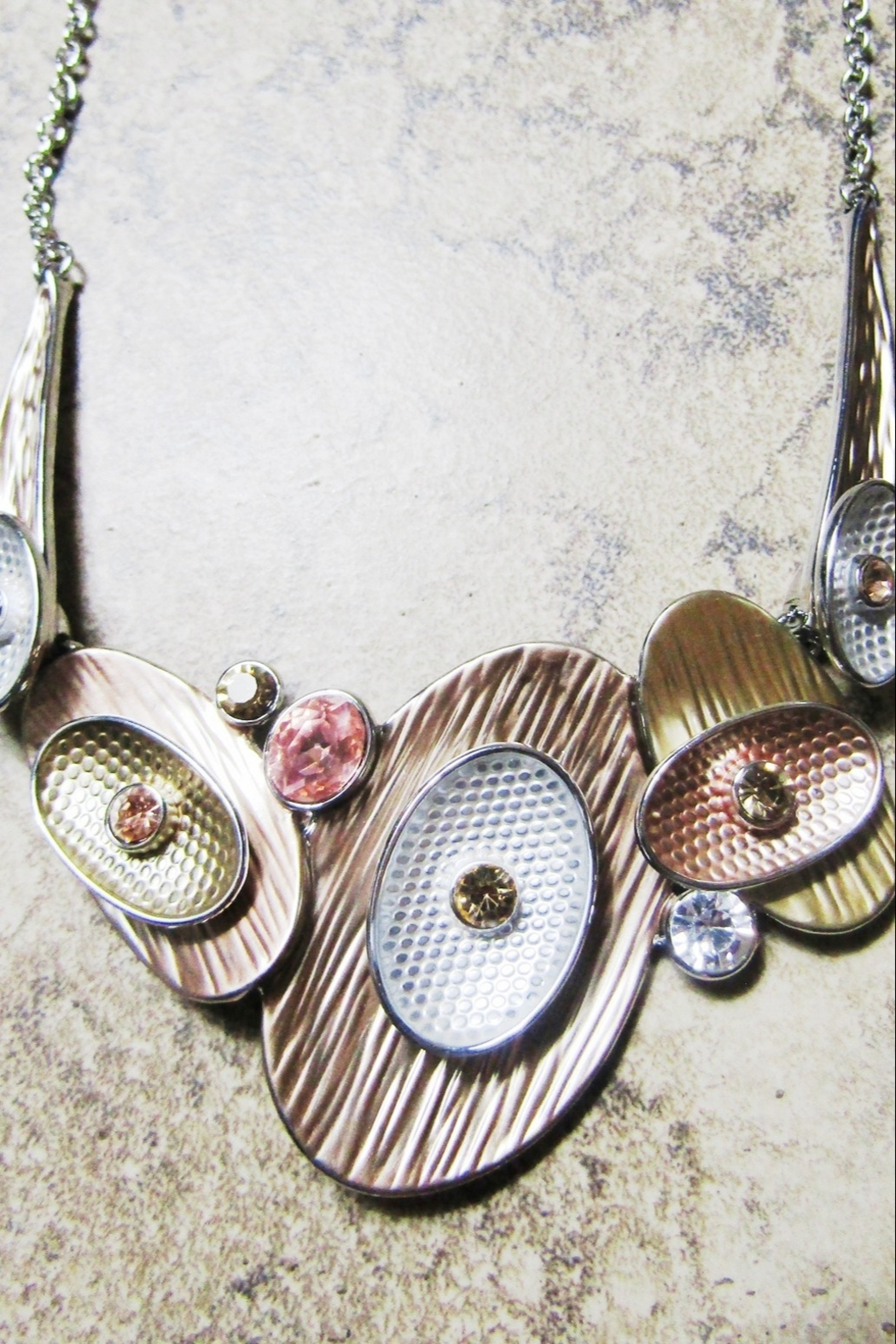 Sophia BRONZE & SILVER OVALS NECKLACE - Front Full Image