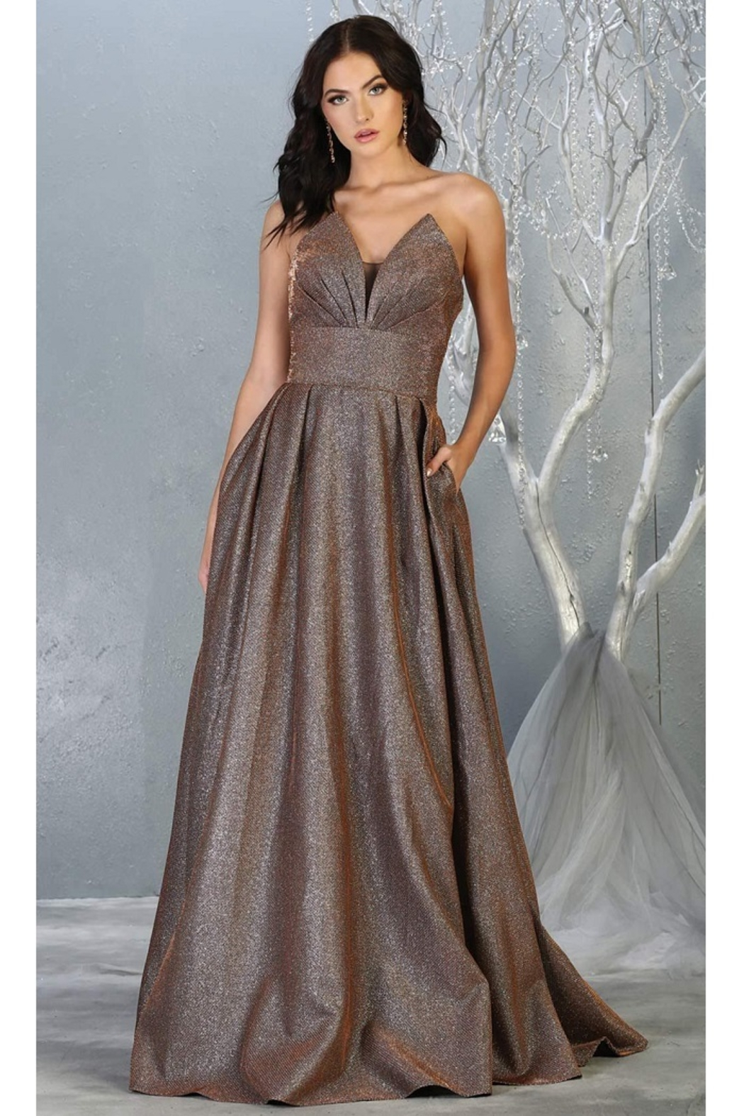 May Queen  Bronze Strapless A-Line Formal Long Dress - Main Image