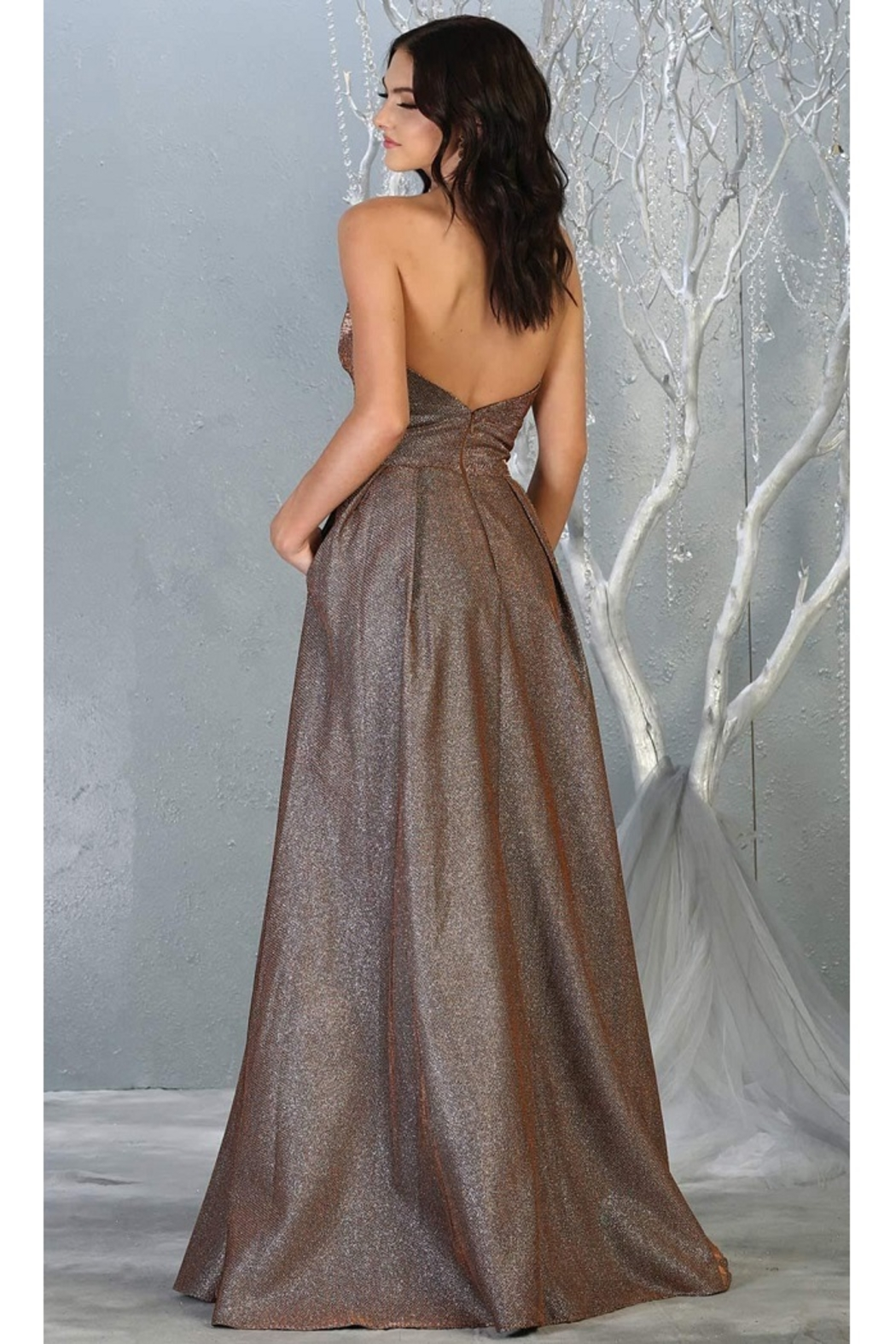 May Queen  Bronze Strapless A-Line Formal Long Dress - Front Full Image
