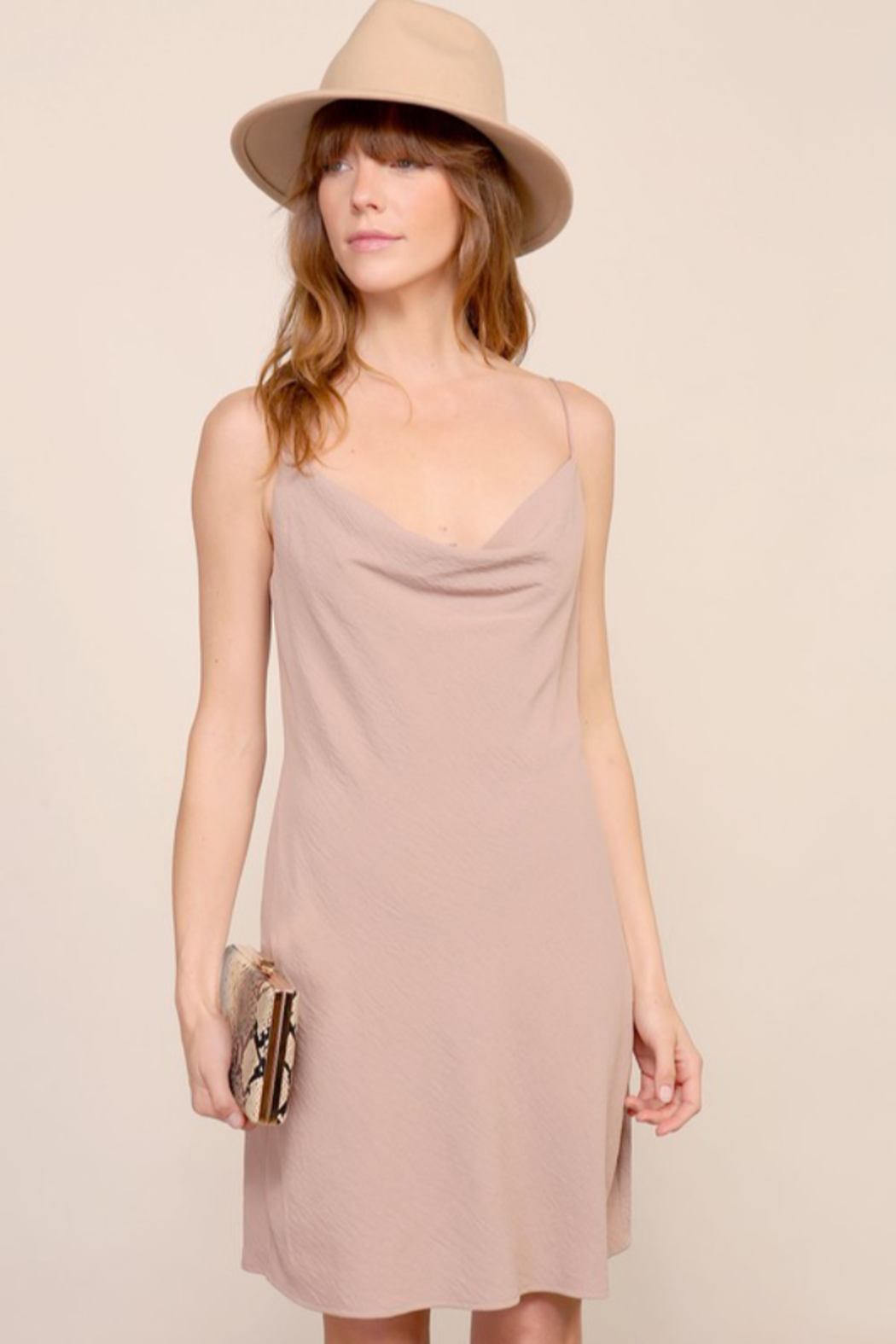 Timing Brooklyn Cowl Neck Mini Dress - Front Cropped Image