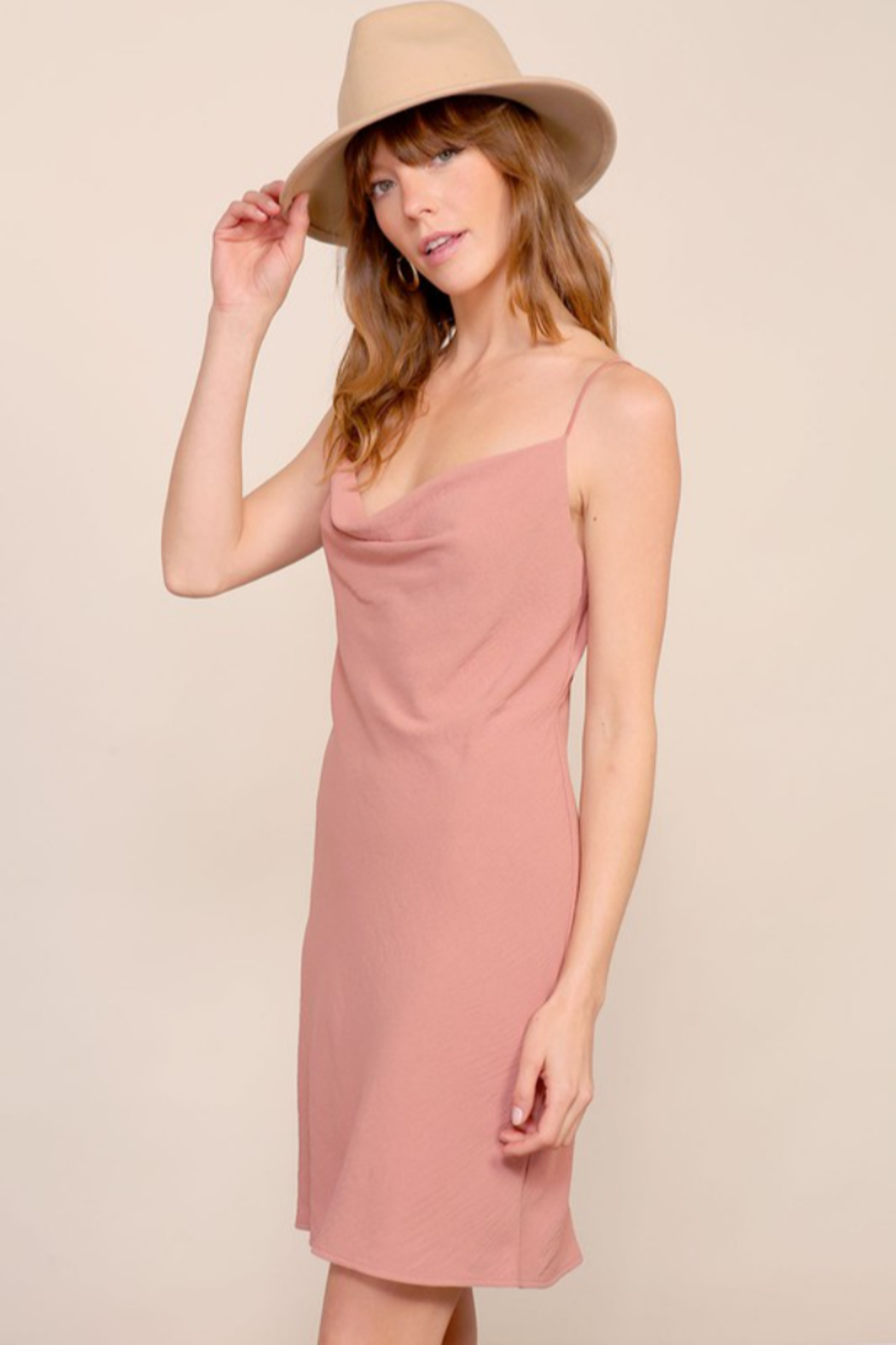 Timing Brooklyn Cowl Neck Mini Dress - Side Cropped Image