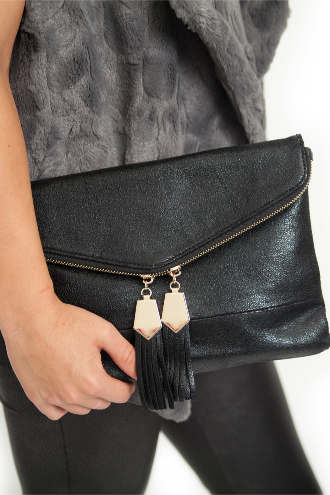 Urban Expressions Gold Detailed Tassel Clutch - Front Full Image