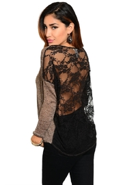 WFS Brown & Black Lace Back Sweater - Product Mini Image