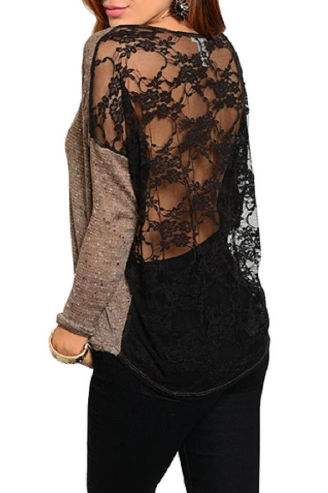WFS Brown & Black Lace Back Sweater - Front Full Image