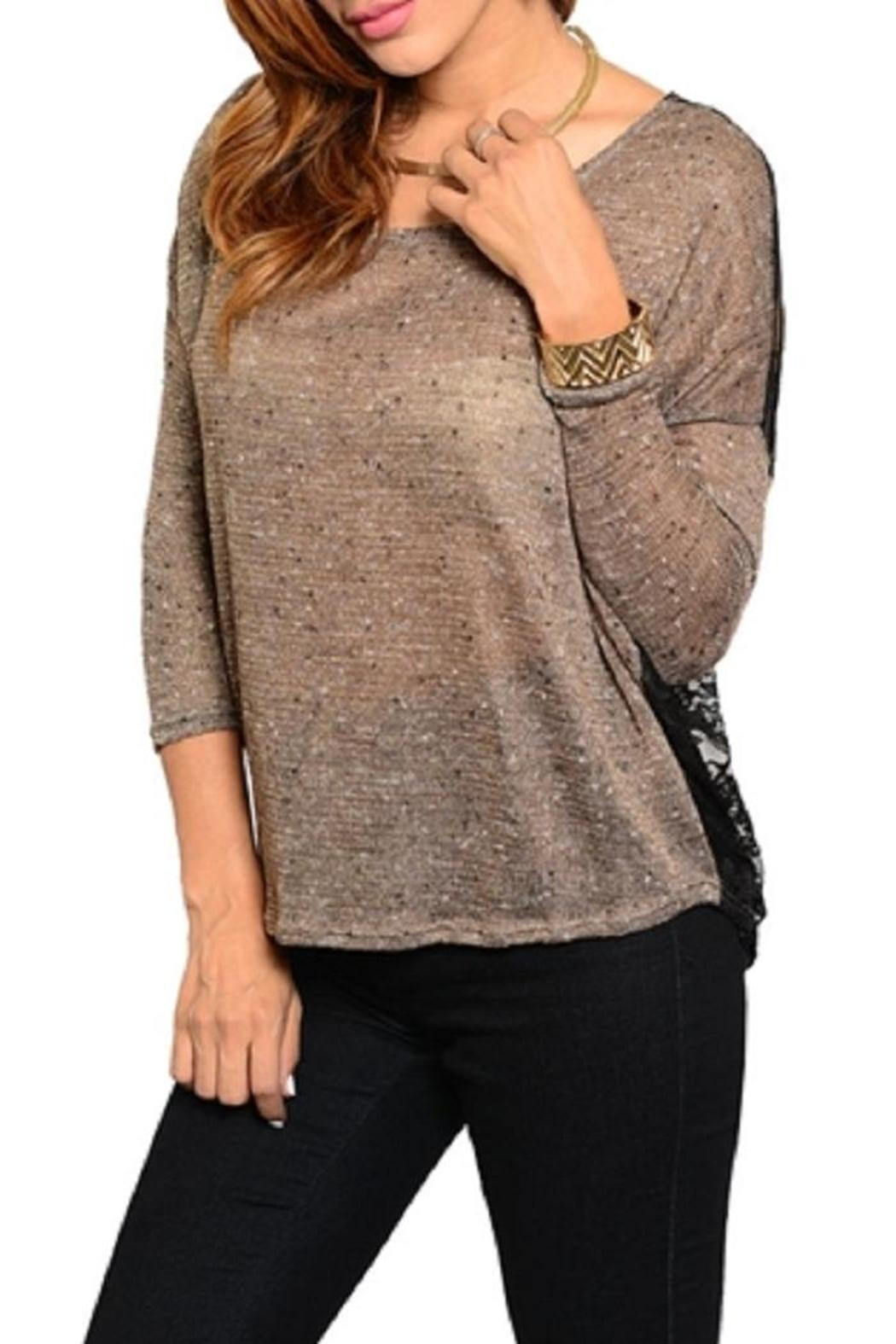 WFS Brown & Black Lace Back Sweater - Front Cropped Image