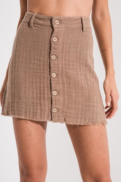 White Crow Brown Button Skirt - Product List Image