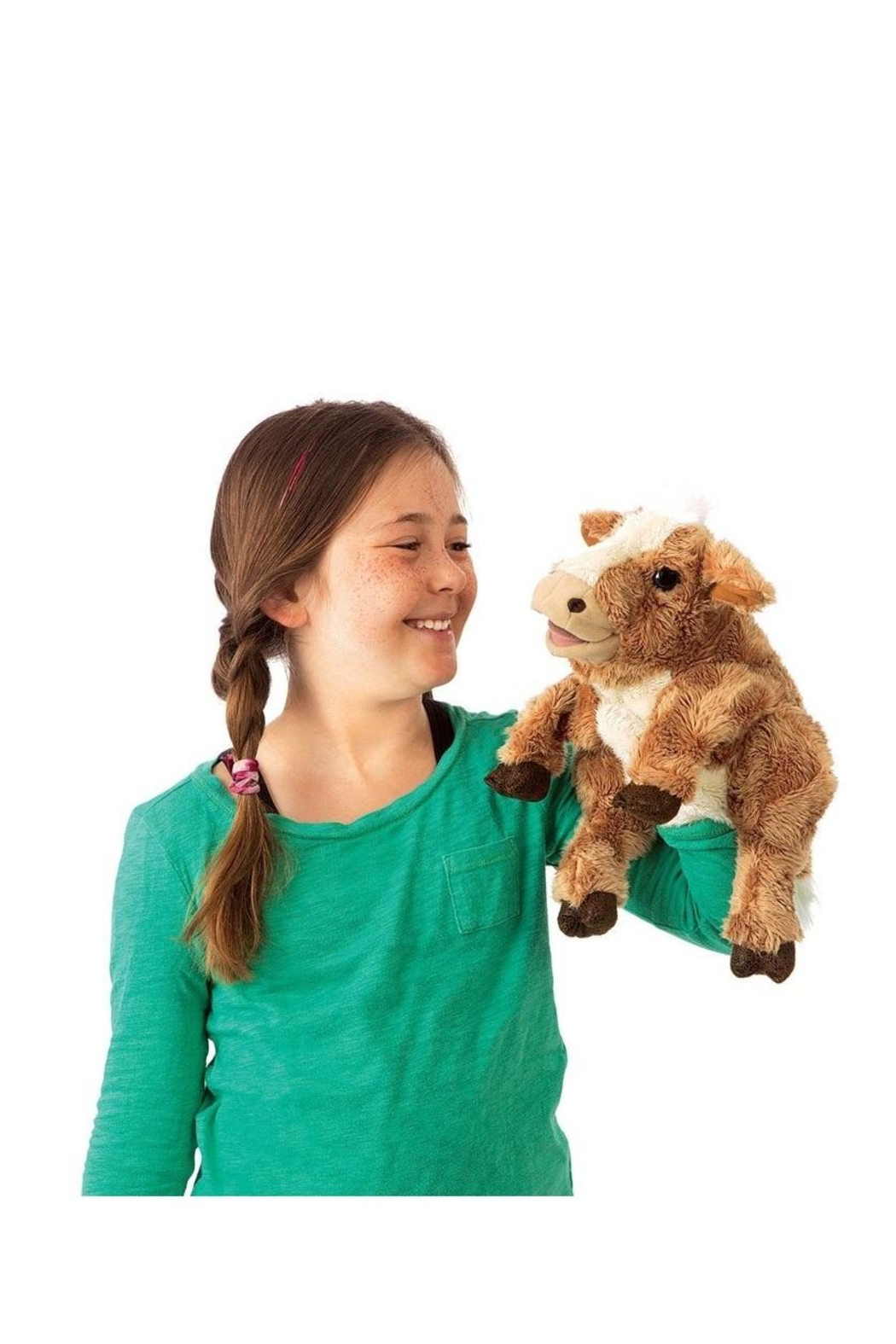 Folkmanis Brown Cow Puppet - Front Full Image