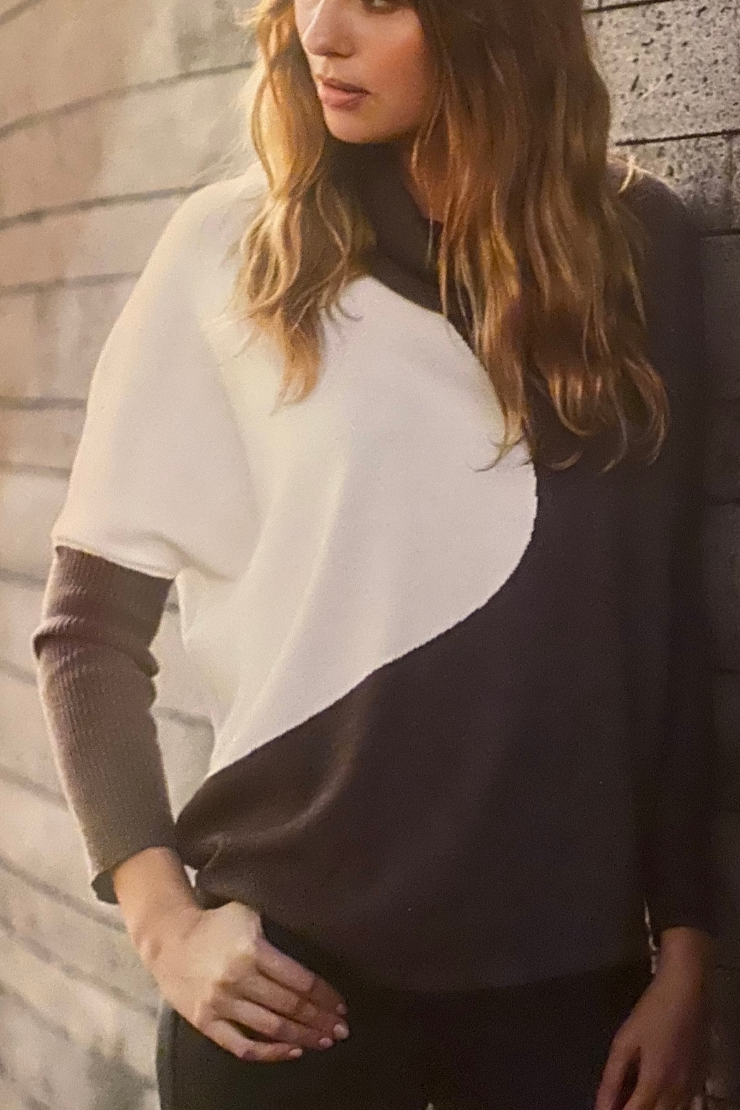 Marble Brown/cream cowl neck sweater - Main Image