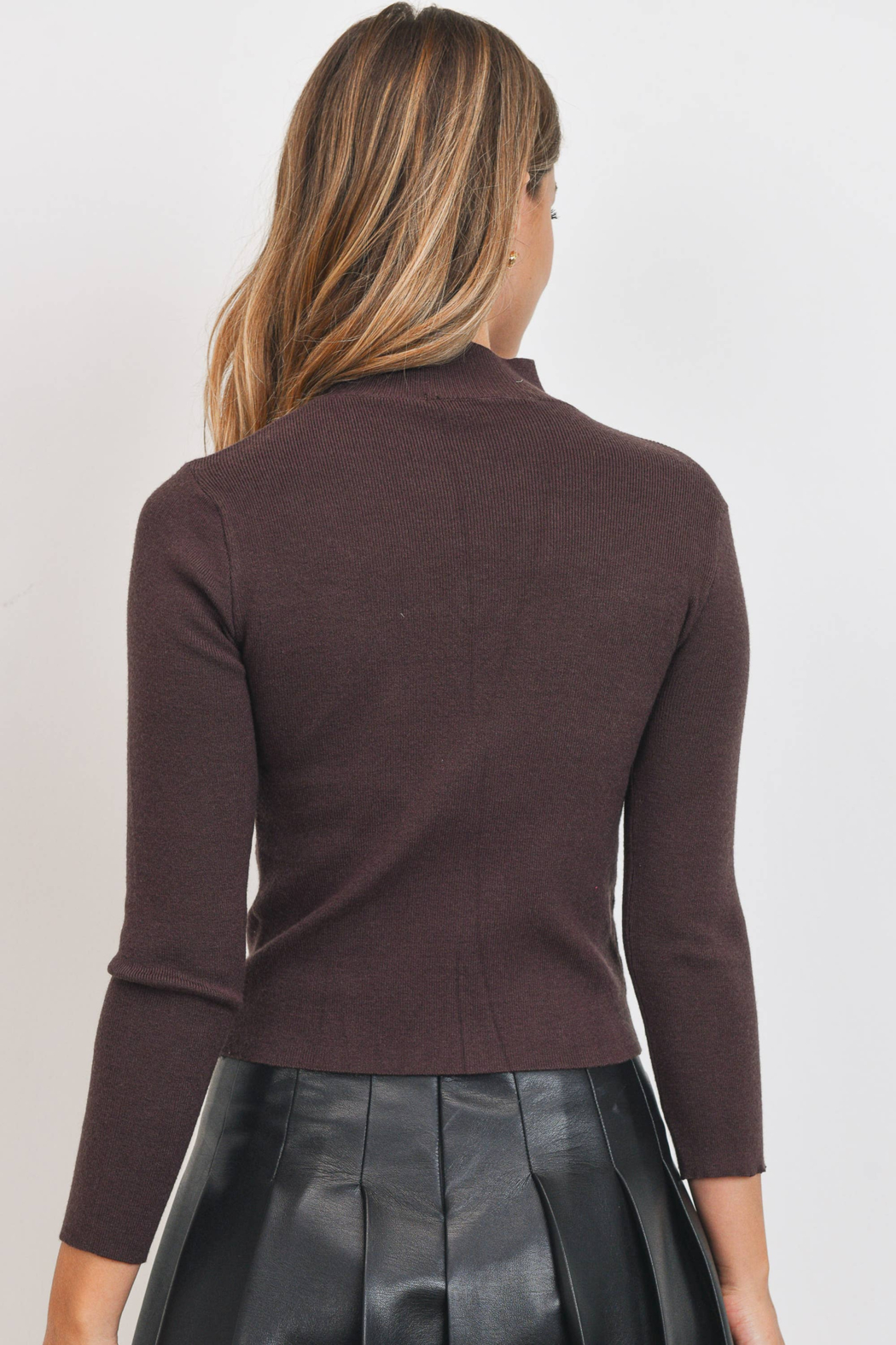 Sweet Rain Brown Cut Out Neck Sweater - Front Full Image