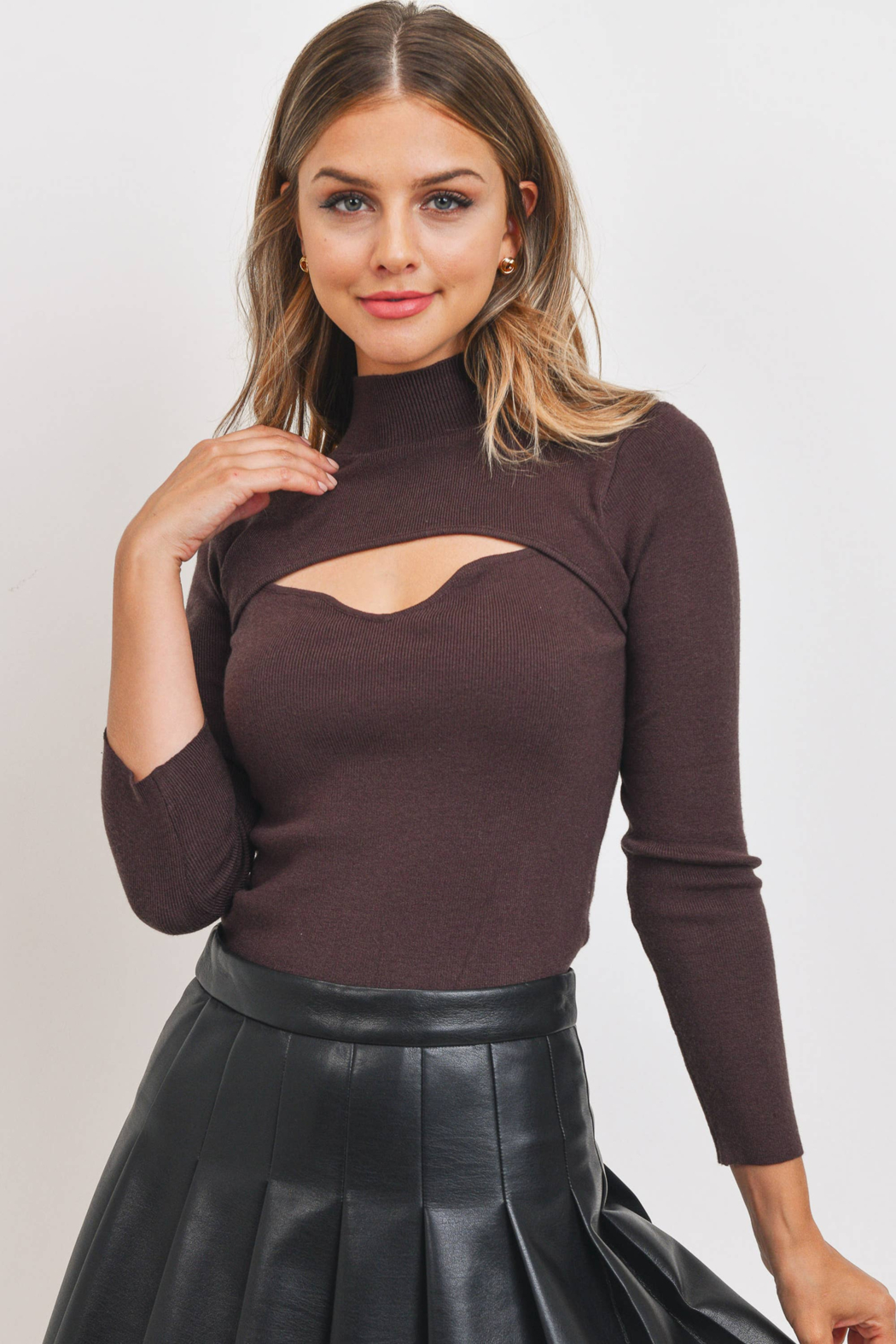 Sweet Rain Brown Cut Out Neck Sweater - Main Image
