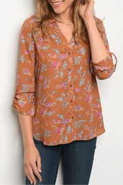 Le Lis Brown Floral Top - Product Mini Image