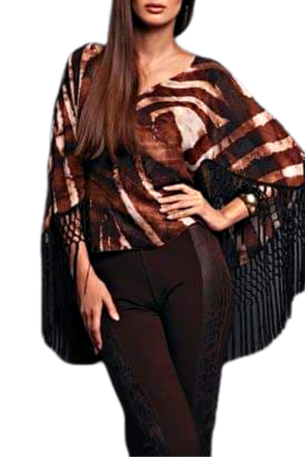 Alberto Makali Brown Fringed Blouse - Front Cropped Image