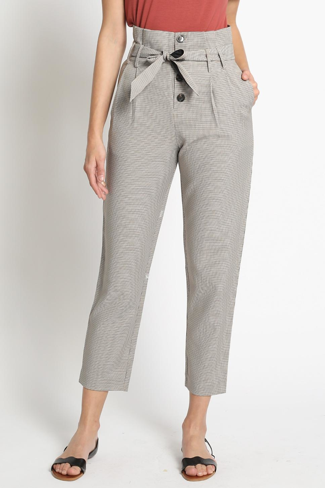 Sans Souci Brown Houndstooth Pants - Main Image
