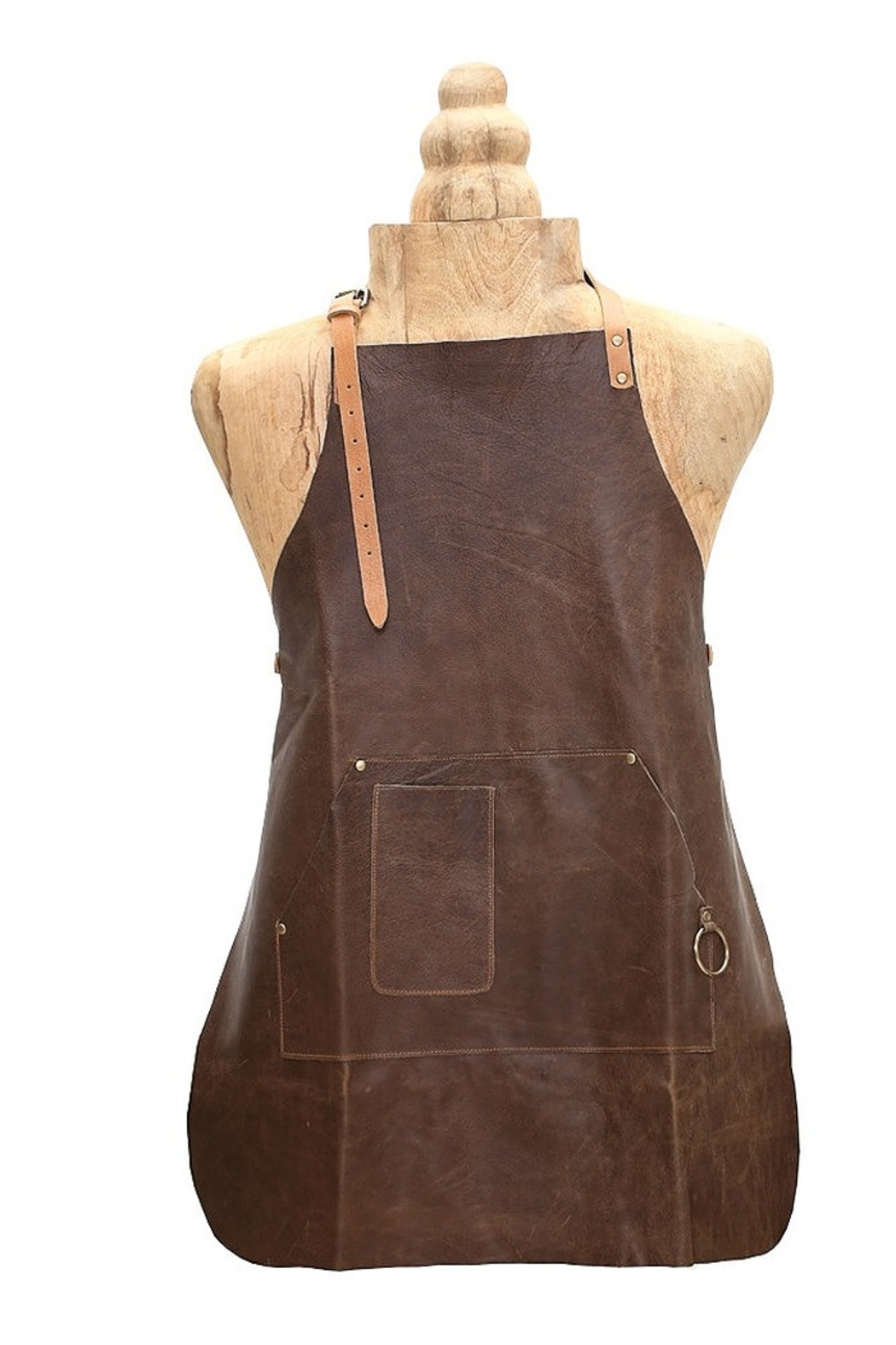 Myra Bags Brown Leather Apron - Front Cropped Image