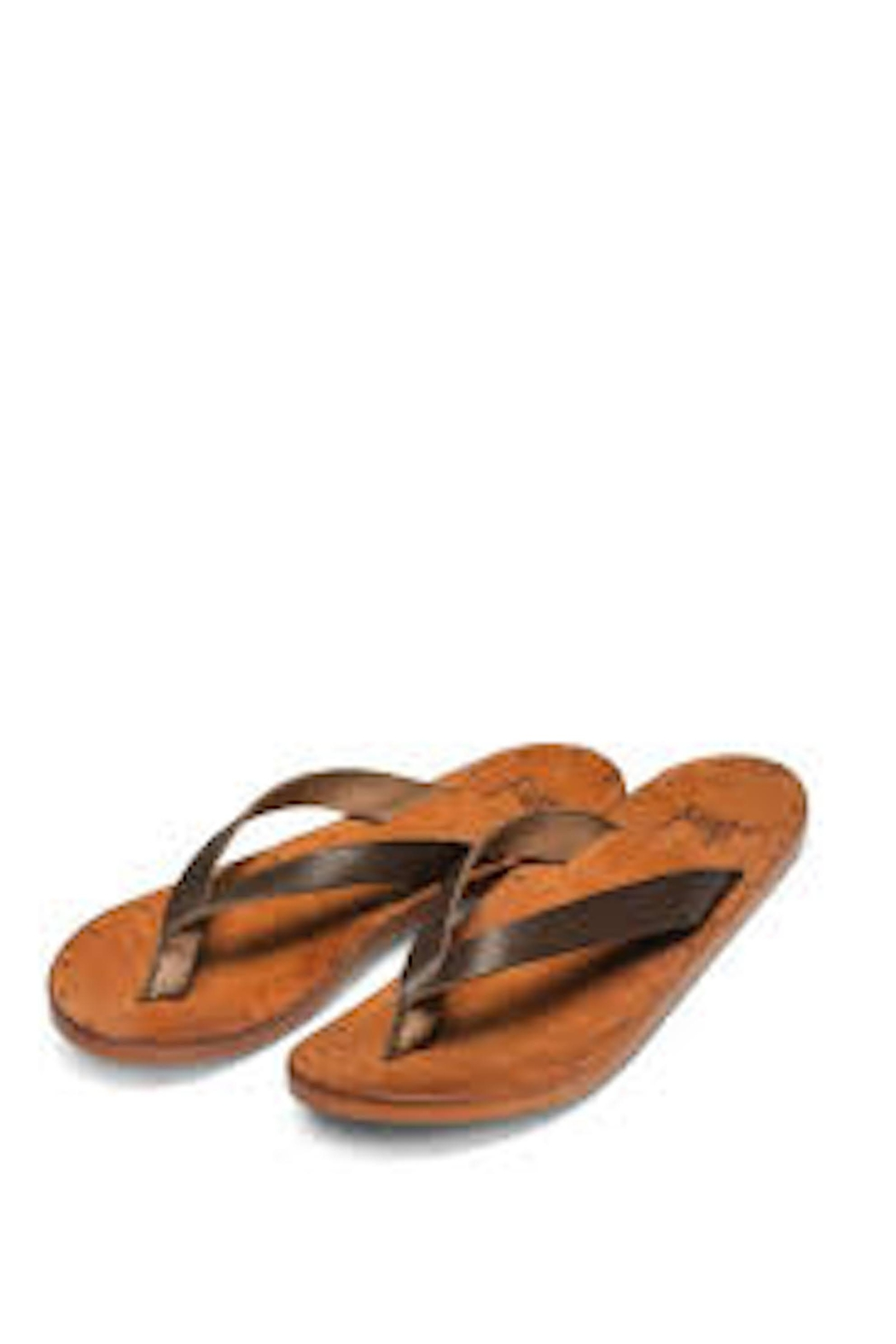Beeko Brown Leather Sandals - Side Cropped Image