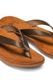 Beeko Brown Leather Sandals - Front full body