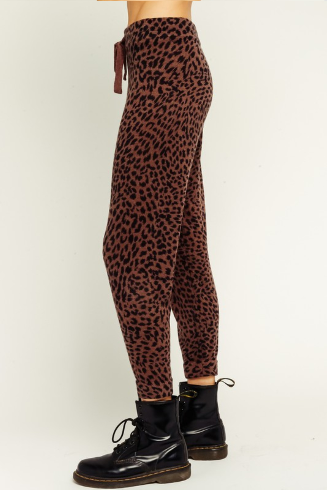 Olivaceous  Brown Leopard Drawstring Joggers - Front Full Image