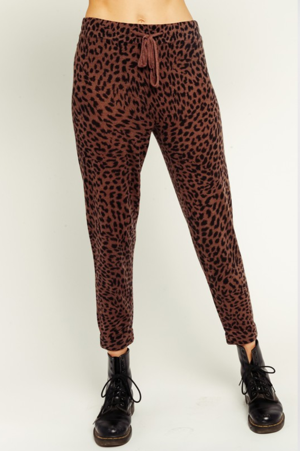 Olivaceous  Brown Leopard Drawstring Joggers - Main Image