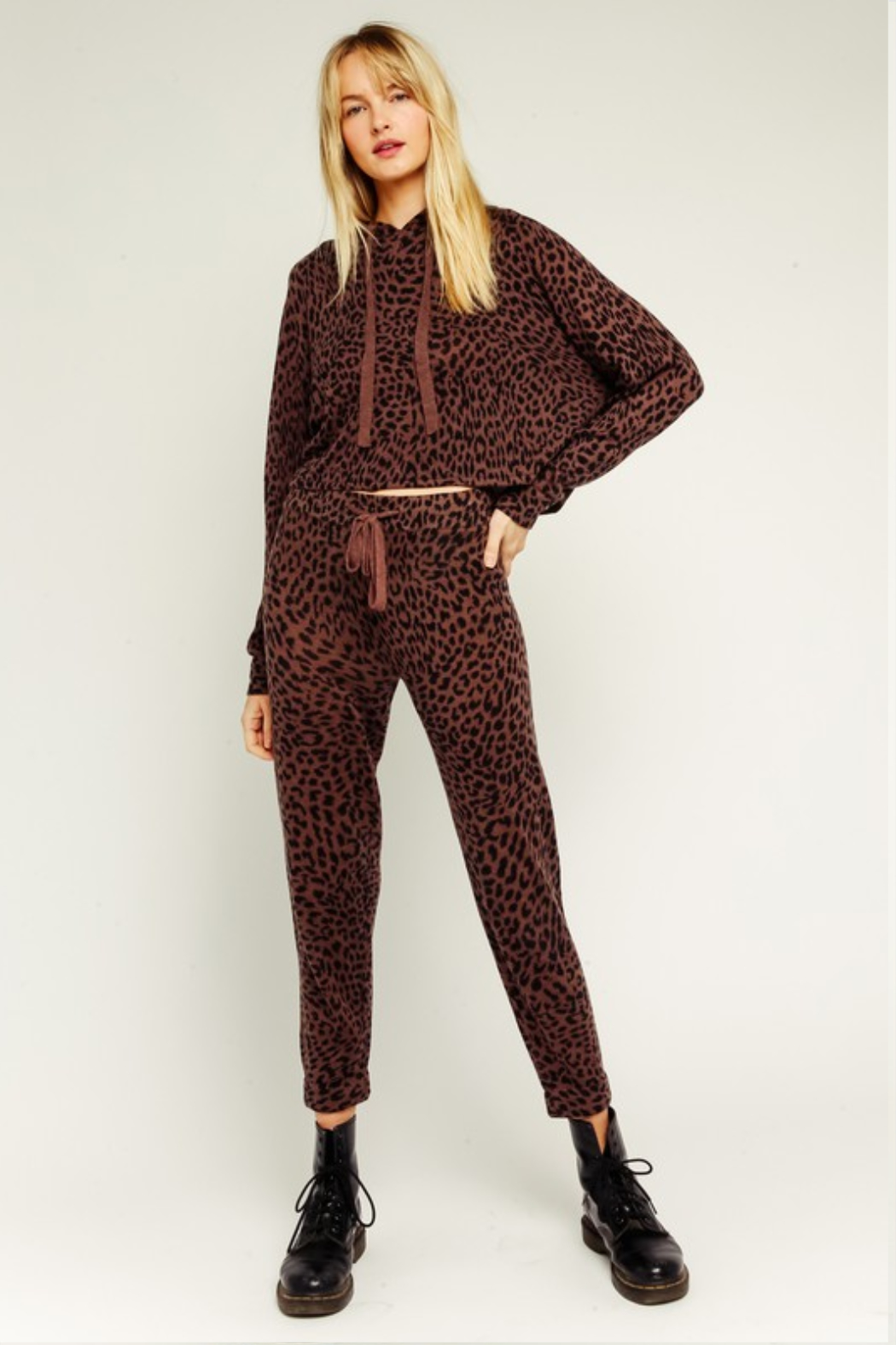 Olivaceous  Brown Leopard Drawstring Joggers - Back Cropped Image