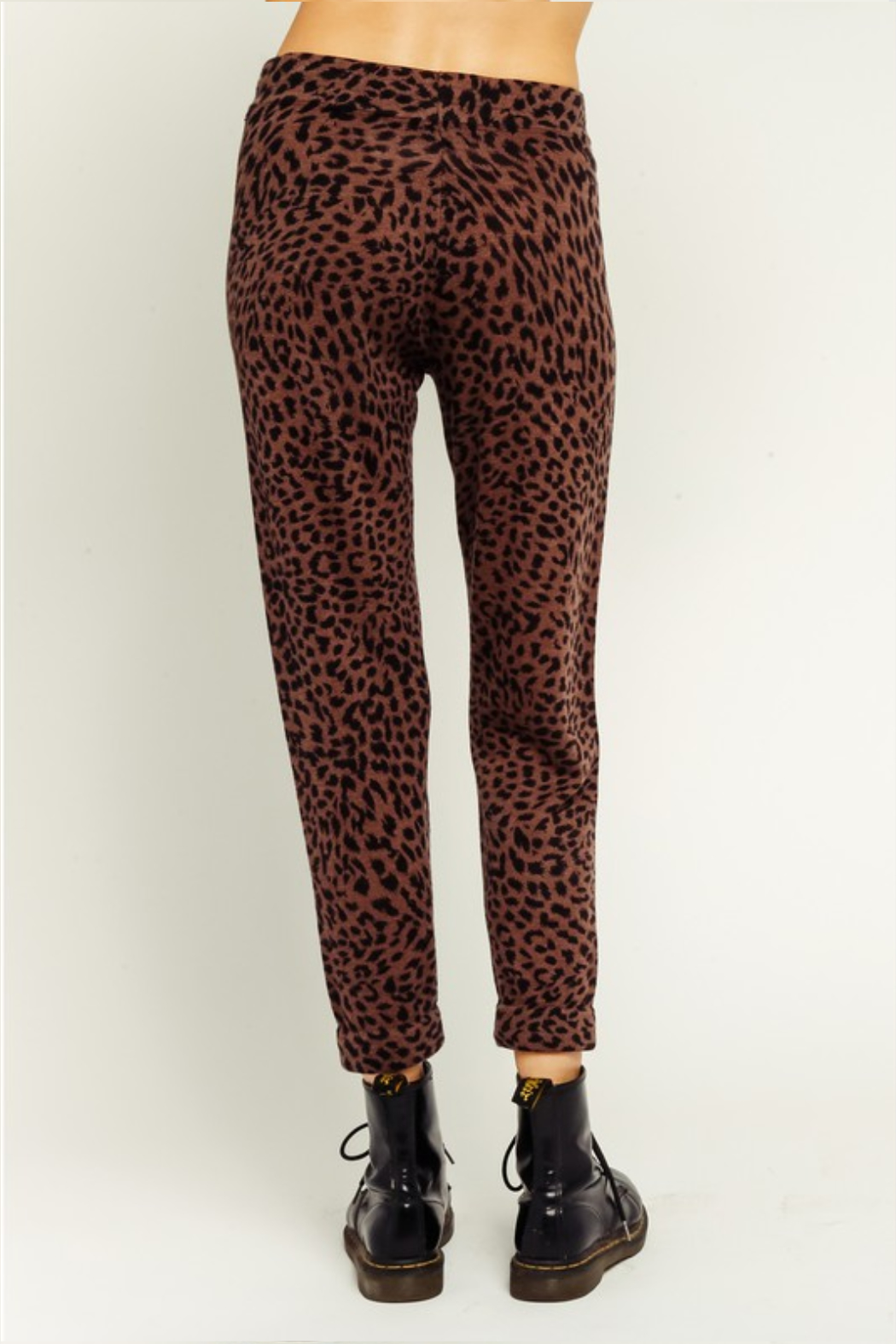 Olivaceous  Brown Leopard Drawstring Joggers - Side Cropped Image