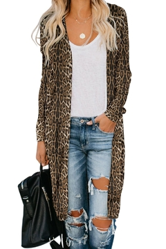 Love Valentine Boutique Brown Leopard Long Cardigan - Product List Image