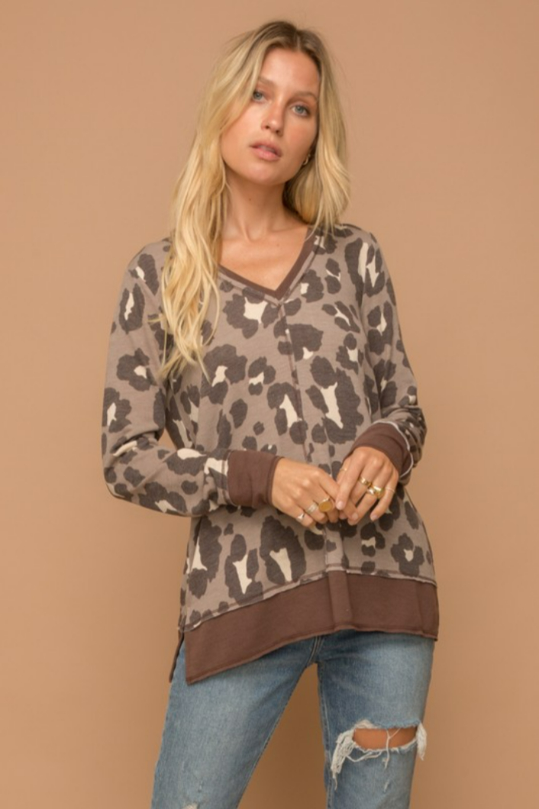 Hem and Thread Brown Leopard Vee Neck Sweater - Front Cropped Image