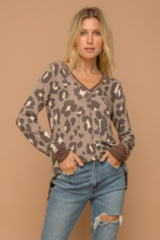 Hem and Thread Brown Leopard Vee Neck Sweater - Product Mini Image