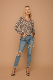 Hem and Thread Brown Leopard Vee Neck Sweater - Other