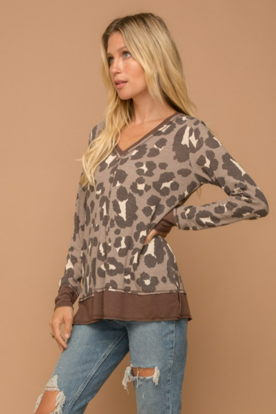 Hem and Thread Brown Leopard Vee Neck Sweater - Back Cropped Image