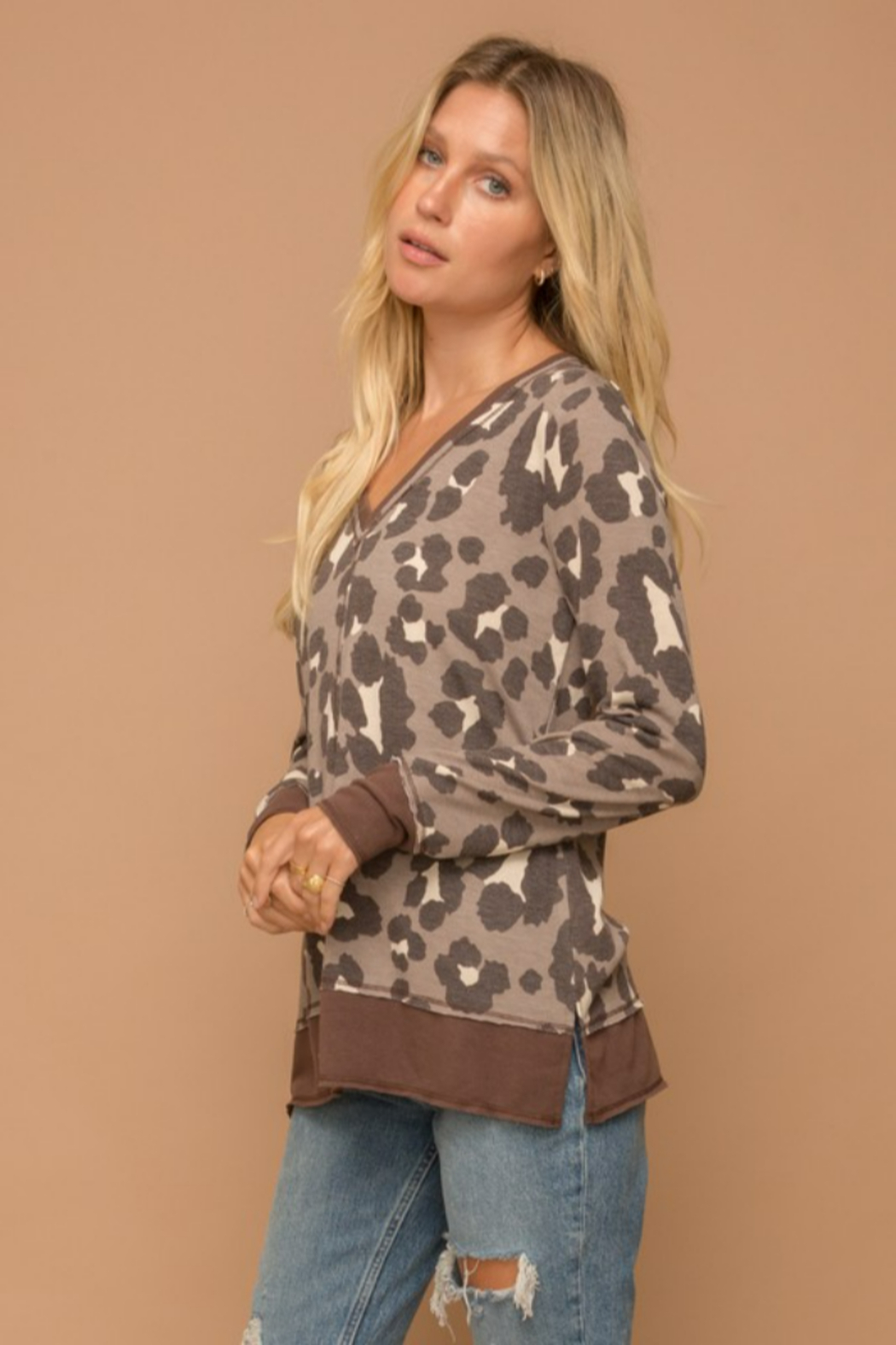 Hem and Thread Brown Leopard Vee Neck Sweater - Side Cropped Image