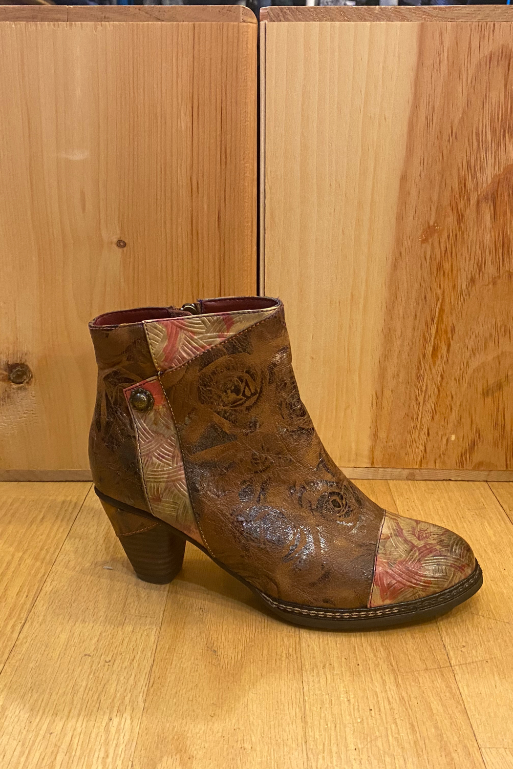 Spring Step  Brown multi bootie - Front Cropped Image