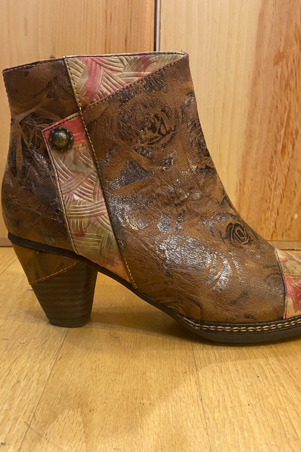 Spring Step  Brown multi bootie - Front Full Image