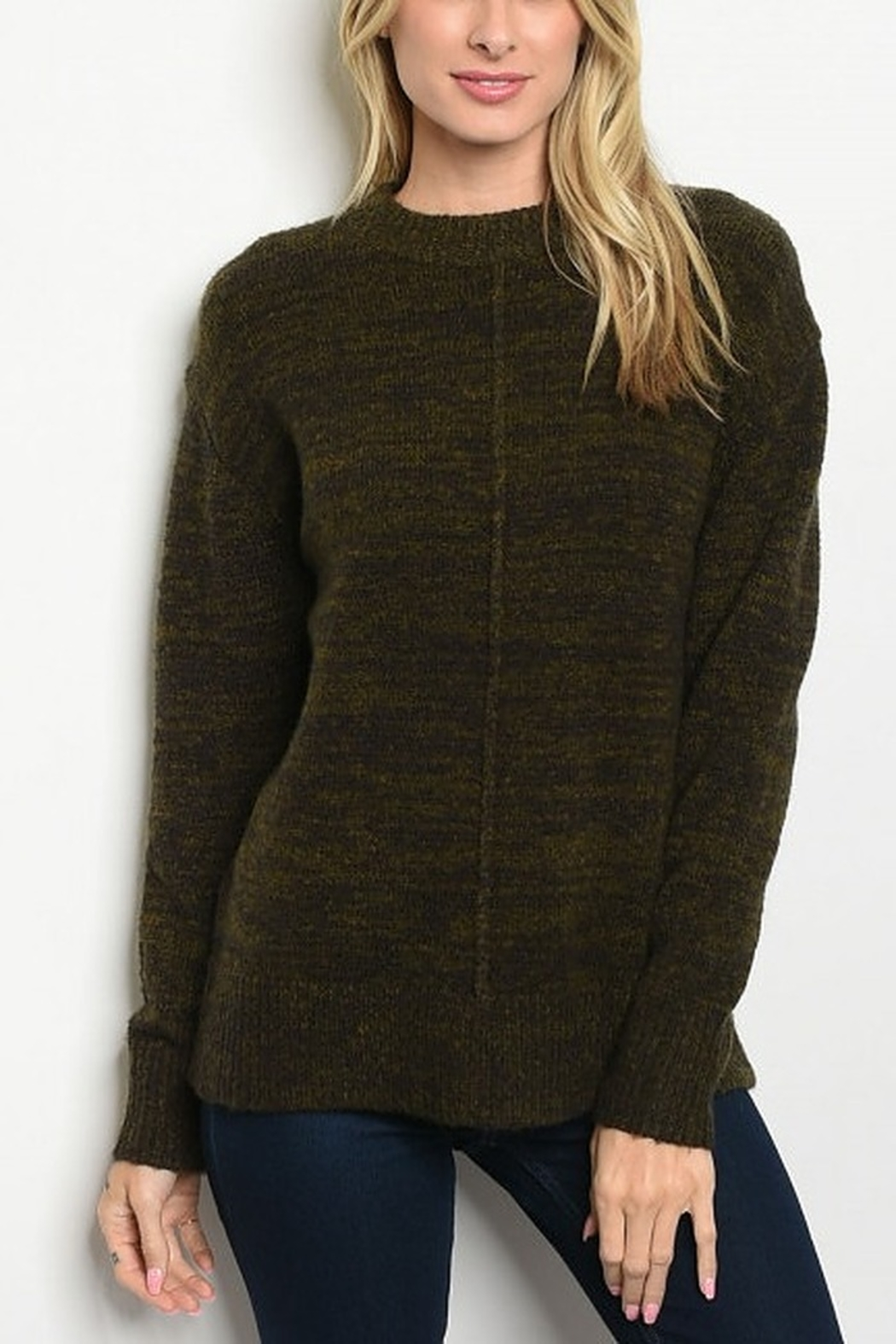 Lyn -Maree's Brown & Olive Cozy Sweater - Main Image