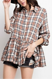 easel Brown Plaid Top - Front cropped
