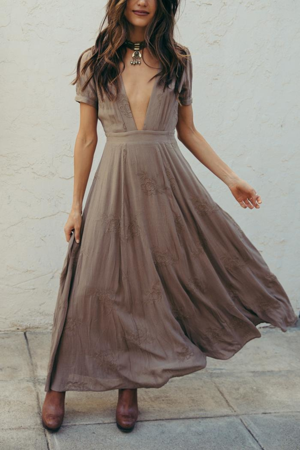 SAGE THE LABEL Brown Plunge Maxi - Main Image