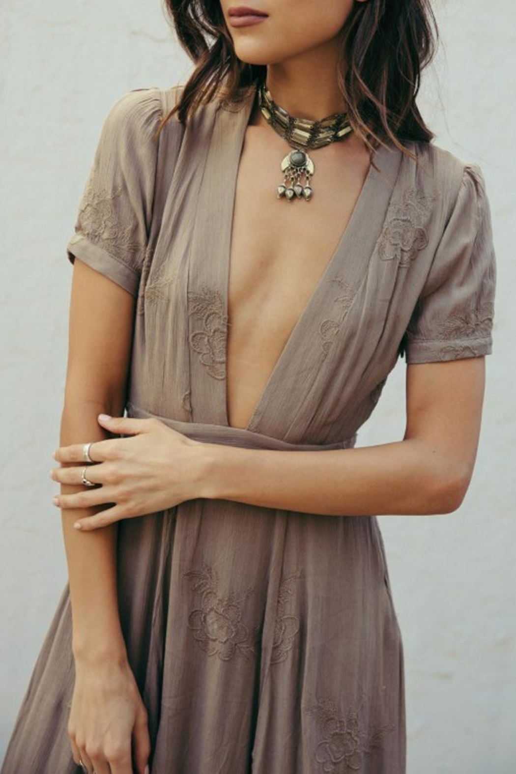 SAGE THE LABEL Brown Plunge Maxi - Side Cropped Image