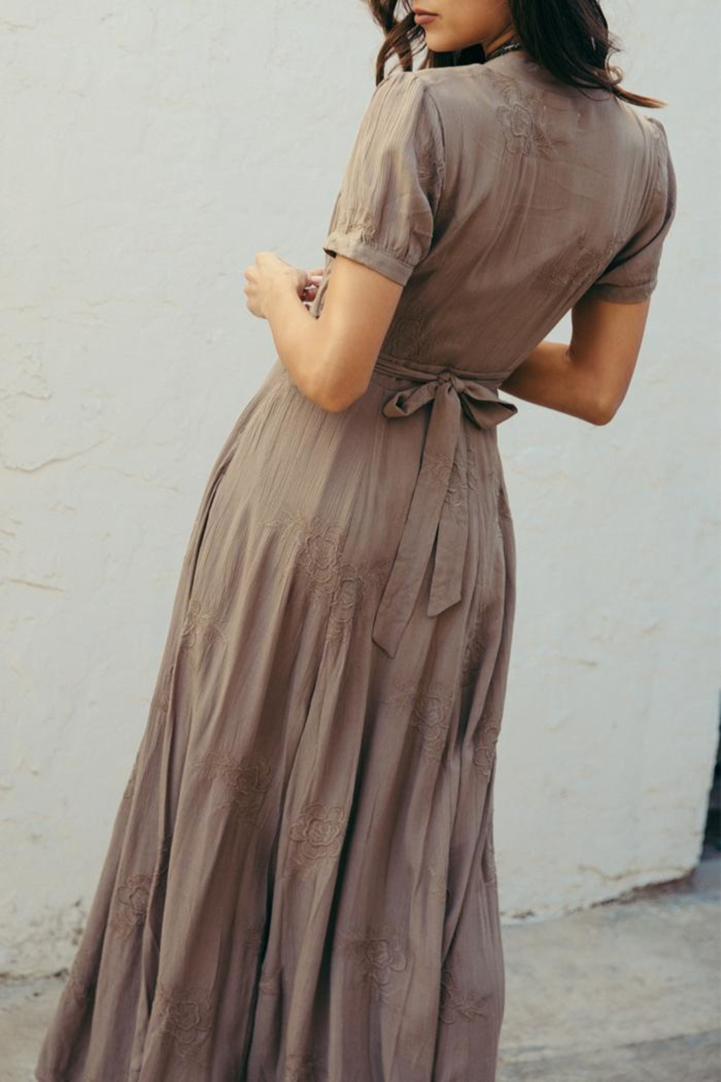 SAGE THE LABEL Brown Plunge Maxi - Back Cropped Image