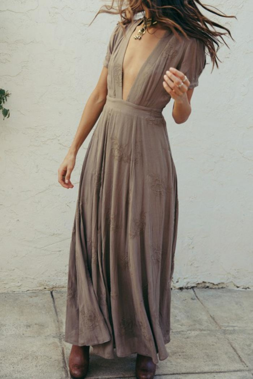 SAGE THE LABEL Brown Plunge Maxi - Front Full Image