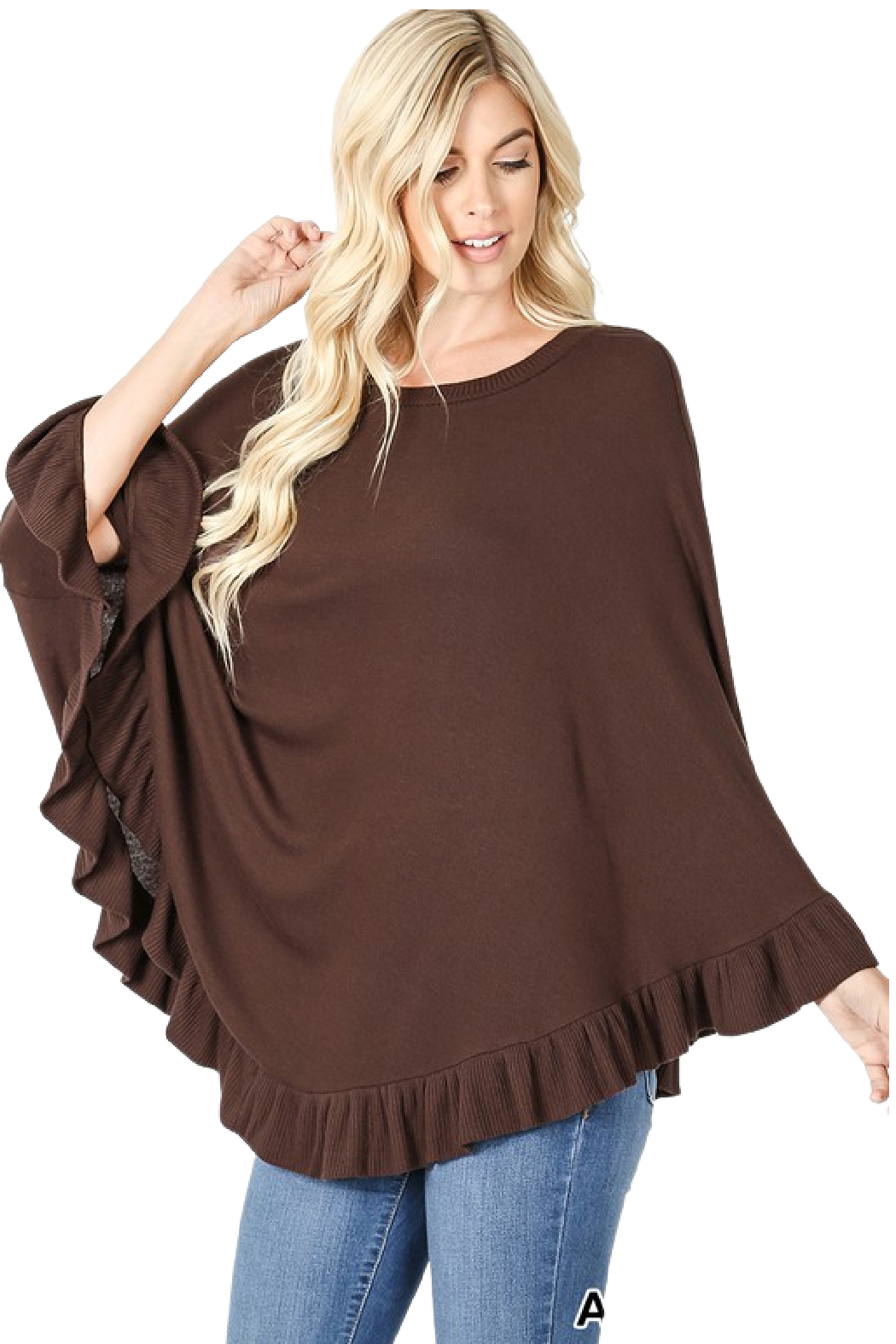 Zenana Outfitters Brown Poncho - Main Image