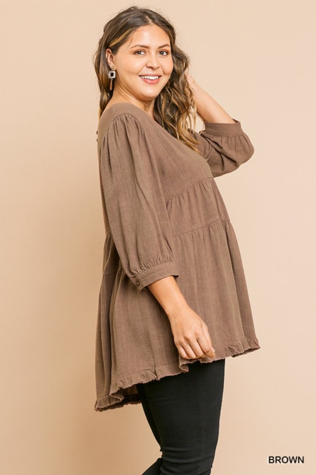 Umgee USA Brown Round Neck Plus Cotton Linen Babydoll Tunic Top - Front Full Image