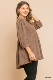 Umgee USA Brown Round Neck Plus Cotton Linen Babydoll Tunic Top - Front full body