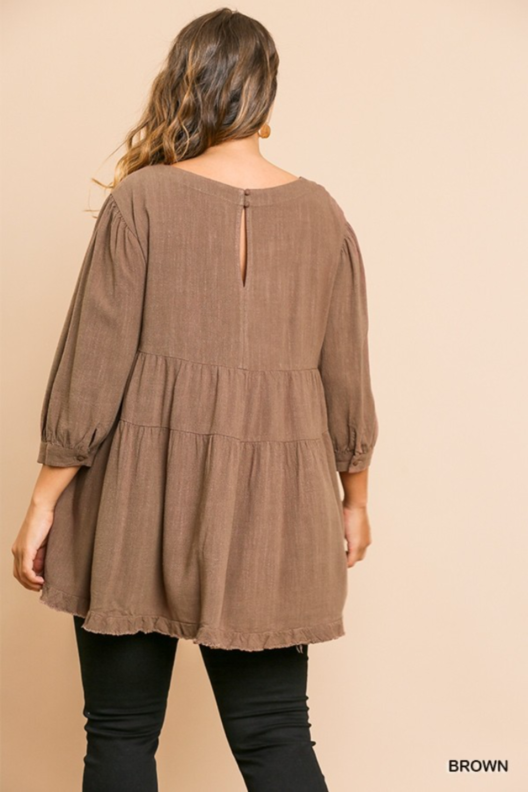 Umgee USA Brown Round Neck Plus Cotton Linen Babydoll Tunic Top - Side Cropped Image